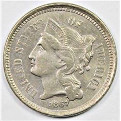 1867 THREE CENT NICKEL