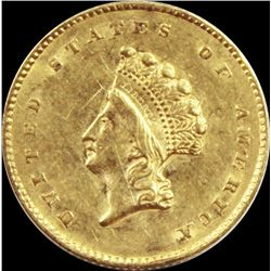 1855 $1.00 GOLD INDIAN TYPE 2