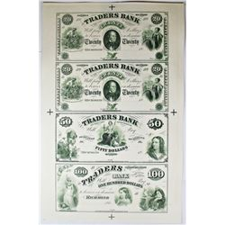 1860'S VIRGINIA TRADERS BANK PROOF SHEET