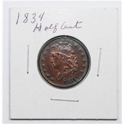 1834 HALF CENT