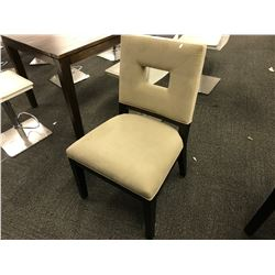 LIGHT SUEDE DARK WOOD FRAME SIDE CHAIR