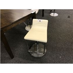 DUBLIN WHITE LEATHER PNEUMATIC BAR STOOL