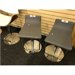 DUBLIN GREY LEATHER PNEUMATIC BAR STOOL