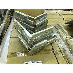 LIGHT WEATHERED EXTERIOR WALL INTERLOCKING CORNER TILES, APPROX. 160 PIECES ON PALLET