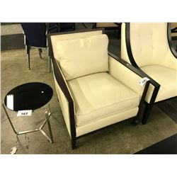 AFTON CREAM LEATHER AND DARK WOOD FRAME ARM CHAIR