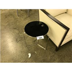 METRO BLACK GLASS TOP ACCENT TABLE