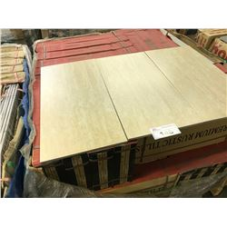 BEIGE TRAVERTINE PORCELAIN 12'' X 24'' TILES, APPROX. 8 X 40 PIECES ON PALLET, APPROX. 640 SQ. FT