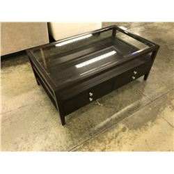 MAHOGANY BLAKE GLASS TOP 4' COFFEE TABLE WITH DRAWERS