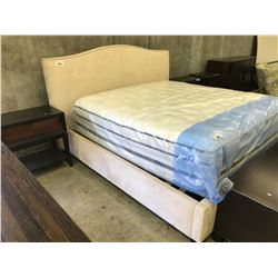 BERNHARDT CREAM GRAHAM KING MICROFIBER AND STUDDED BED FRAME - MATTRESS NOT INCLUDED
