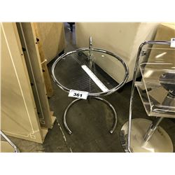 CHROME & GLASS ADJUSTABLE HEIGHT END TABLE
