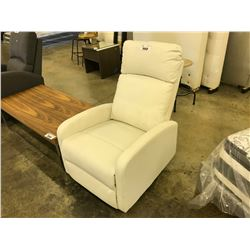 WHITE LEATHER RECLINING GLIDING  CHAIR