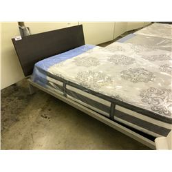 PEWTER WALNUT QUEEN TRICA CITY BED FRAME - MATTRESS NOT INCLUDED