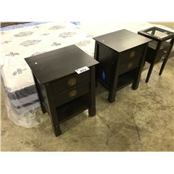 PAIR OF DARK WALNUT URBAN 2 DRAWER END TABLES