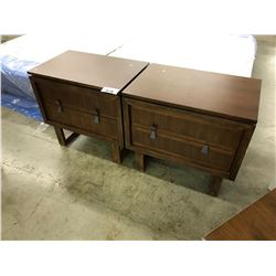 PAIR OF ZOCALO DARK WALNUT 2 DRAWER END TABLES - MISSING ONE HANDLE ON ONE TABLE
