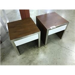 PAIR OF WALNUT & CHROME FRAMED 1 DRAWER END TABLE