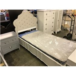 MAGNUSSEN JANE WHITE & GEM STONES COMPLETE SINGLE BED FRAME - MATTRESS NOT INCLUDED