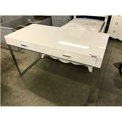 WHITE & CHROME 2 DRAWER OFFICE DESK