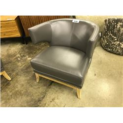 NAPOLI GREY LEATHER NATURAL WOOD ARM CHAIR