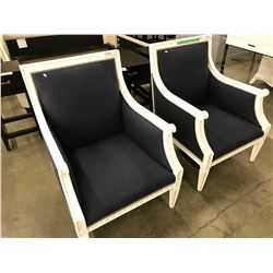 WHITE & NAVY STUDDED JONATHAN ADLER REGENT ARM CHAIR
