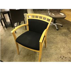 MAPLE AND BLACK WOOD FRAME ARM CHAIR