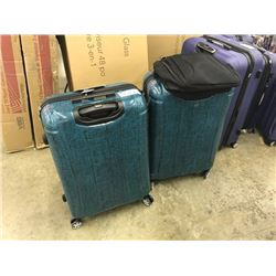 BLACK BACKPACK AND 2 GREEN SAMSONITE TRAVEL CASES (ONE WITH MISSING WHEEL)