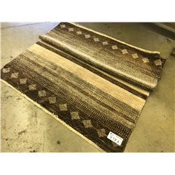 BROWN AND TAN MODERN WOOL AREA RUG 6.7' X 4.2' GALLERY PRICE $2430