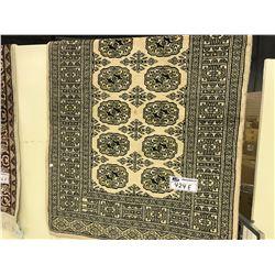 TAN AND BLACK BOKHARA WOOD CARPET 4' X 2.5' GALLERY PRICE $880