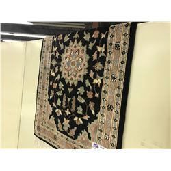 BLACK AND MAUVE FLORAL WOOL RUG 3' X 2' GALLERY PRICE $520
