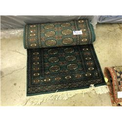 EMERALD GREEN BOKHARA WOOL CARPET 14' X 2.5' $3800