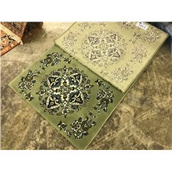LIGHT GREEN FLORAL ANTIQUE STYLE RUG 5.5' X 2.5' GALLERY PRICE $820