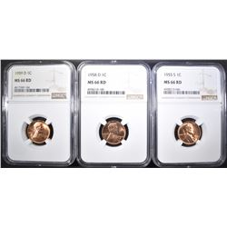 1955-S, 58-D & 59-D LINCOLN CENTS NGC MS-66 RED