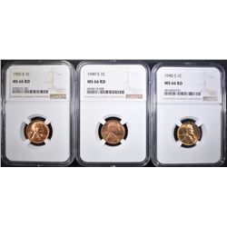 3-S MINT LINCOLN CENTS NGC MS-66 RED: