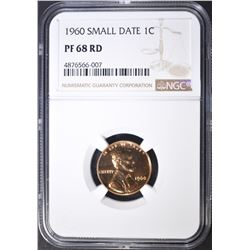1960 SMALL DATE LINCOLN CENT, NGC PF-68 RED