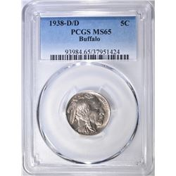 1938-D/D BUFFALO NICKEL PCGS MS-65