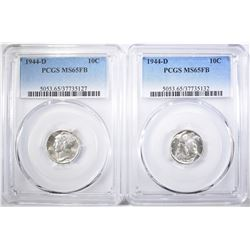 2-1944-D MERCURY DIMES, PCGS MS-65 FB