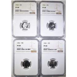 61, 62, 63, 64 ROOSEVELT DIMES NGC PF-68
