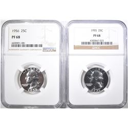 1955 & 56 WASHINGTON QUARTERS NGC PF-68