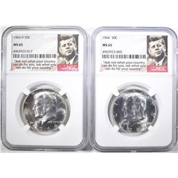 1964 & 64-D KENNDY HALF DOLLARS, NGC MS-65