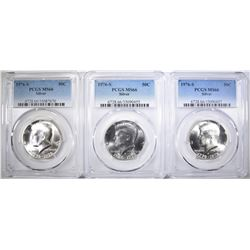 3-1976-S SILVER KENNEDY HALF DOLLARS, PCGS MS-66