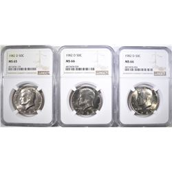3-1982-D KENNEDY HALF DOLLARS, ALL NGC- 2-MS66 &