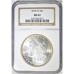 1878-CC MORGAN DOLLAR, NGC MS-63