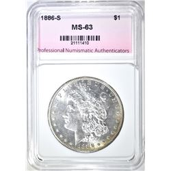 1886-S MORGAN DOLLAR, PNA CH BU