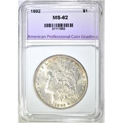 1892 MORGAN DOLLAR APCG BU