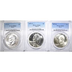3 1972-S SILVER EISENHOWER DOLLARS PCGS MS-66