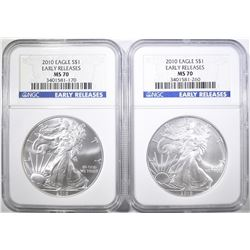 2-2010 SILVER EAGLES, NGC MS-70 EARLY RELEASES