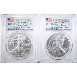 2-2017 (W) SILVER EAGLES PCGS MS-70 FIRST STRIKE