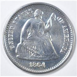 1864-S SEATED LIBERTY HALF DIME BU