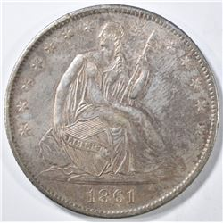 1861-O SEATED LIBERTY HALF DOLLAR AU/BU