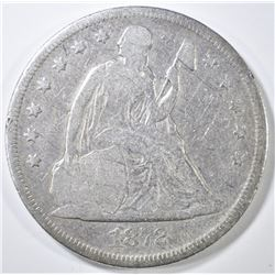 1872 SEATED LIBERTY DOLLAR FINE SCRATCHES