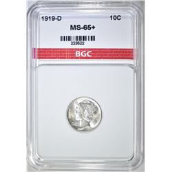 1919-D MERCURY DIME  BGC SUPERB GEM BU +